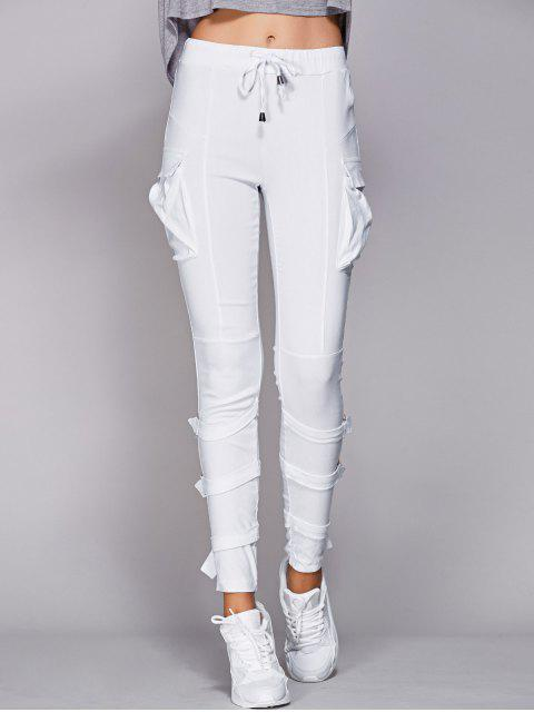 outfits Drawstring White Pockets Pants - WHITE 2XL Mobile