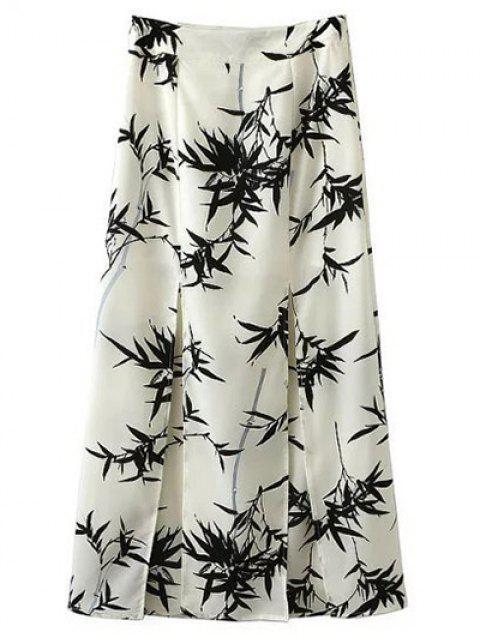 fashion Front Slit Bamboo Print Skirt - WHITE M Mobile