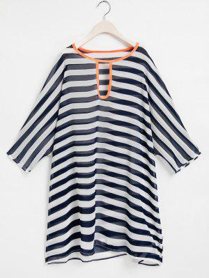 Striped Keyhole Neckline 3/4 Sleeve Cover-Up