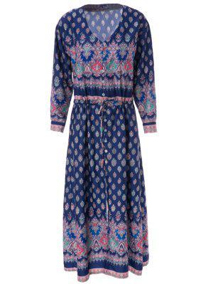 V-Neck Draped Sleeve Single-Breasted Drawstring Design Dress - Blue L