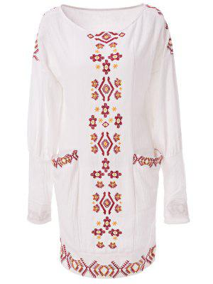 Ethnic Embroidery Scoop Neck Long Sleeve Dress - Off-white S