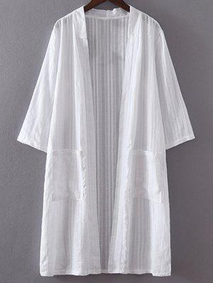 White Pocket 3/4 Sleeve Trench Coat - White 2xl