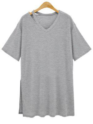 Loose Side Slit V Neck Short Sleeve T-Shirt - Gray 3xl