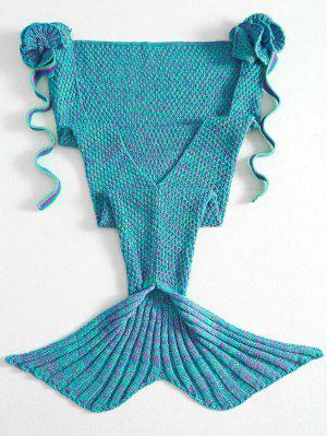 Knitted Floral Mermaid Tail Blanket - Green