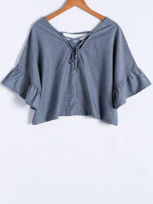 Blue Denim V Neck Half Sleeve Blouse - Blue L
