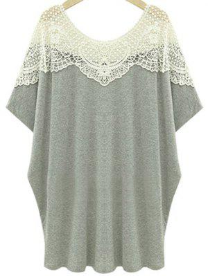 Cut Out Lace Spliced Round Neck Short Sleeve T-Shirt - Light Gray 4xl