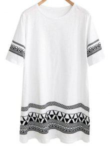 Loose Geometric Print Round Neck Short Sleeve Dress - White 2xl