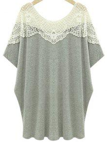 Cut Out Lace Spliced Round Neck Short Sleeve T-Shirt - Light Gray 3xl