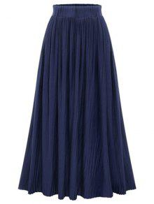 Buy Pure Color High Waist Pleated Skirt - DEEP BLUE ONE SIZE(FIT SIZE XS TO M)