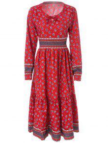 Tiny Floral Print Long Sleeve Maxi Dress - Dark Red M