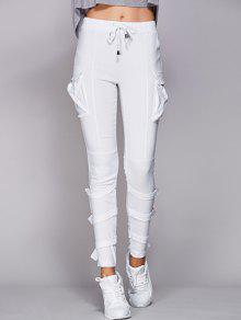Pantalones De Los Bolsillos Con Cordón Blanco - Blanco 2xl