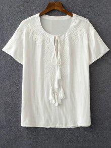 Embroidery White Round Neck Short Sleeve T-Shirt - White L