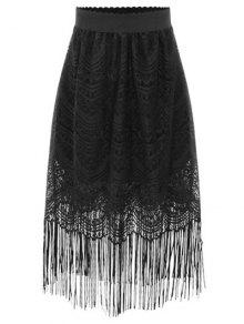 Black Fringe High Waist A-Line Lace Skirt - Black 3xl