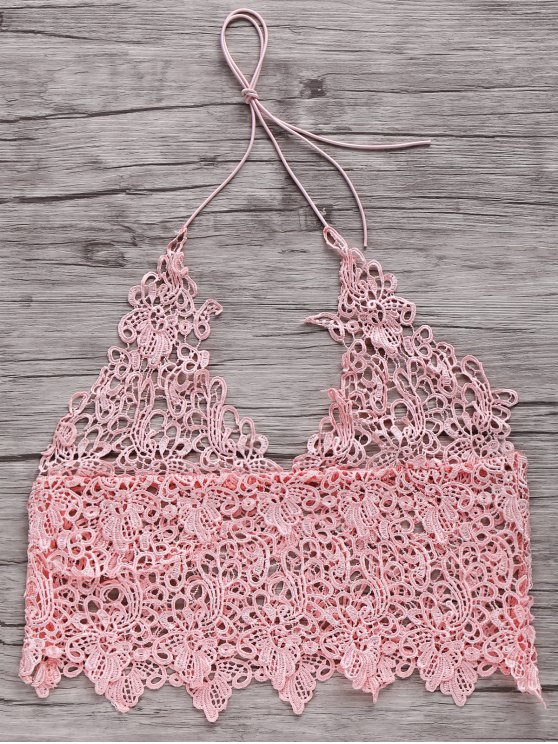 chic Short Solid Color Cami Lace Tank Top - PINK XL