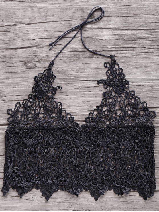 Sólido color corto de encaje sin mangas de Cami - Negro M