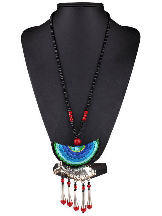 ladies Fish Tassel Half Moon Pendant Necklace - BLUE