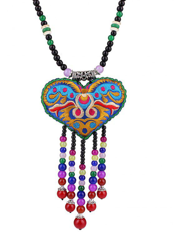 online Heart Pouch Beaded Tassel Pendant Necklace - COLORFUL