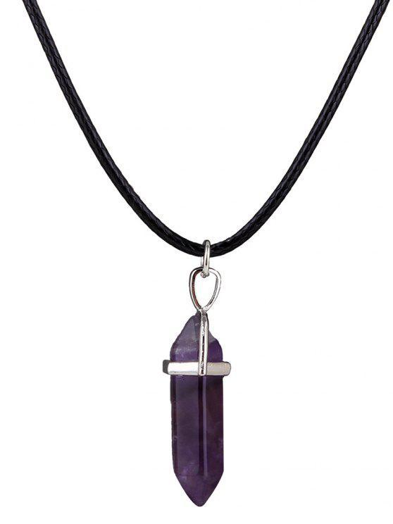 hot Fake Gem Bullet Shape Pendant Necklace - PURPLE