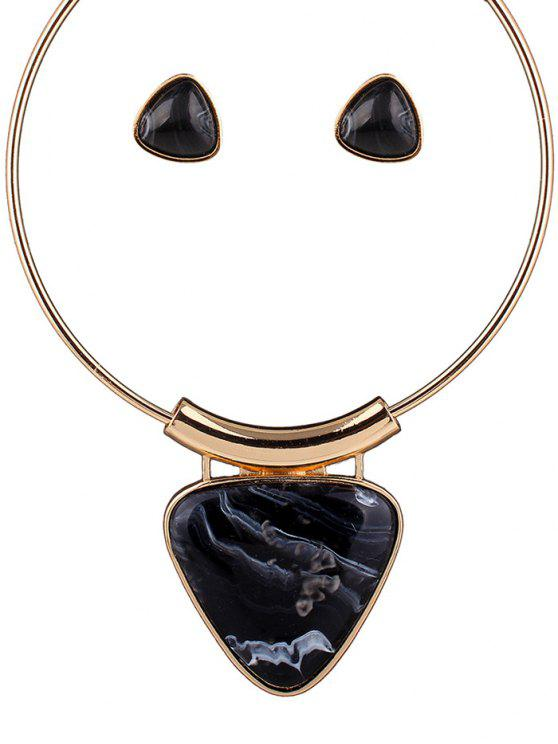 shop Acrylic Triangle Necklace and Earrings - BLACK