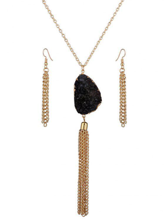 unique Faux Gem Tassel Necklace and Earrings - BLACK