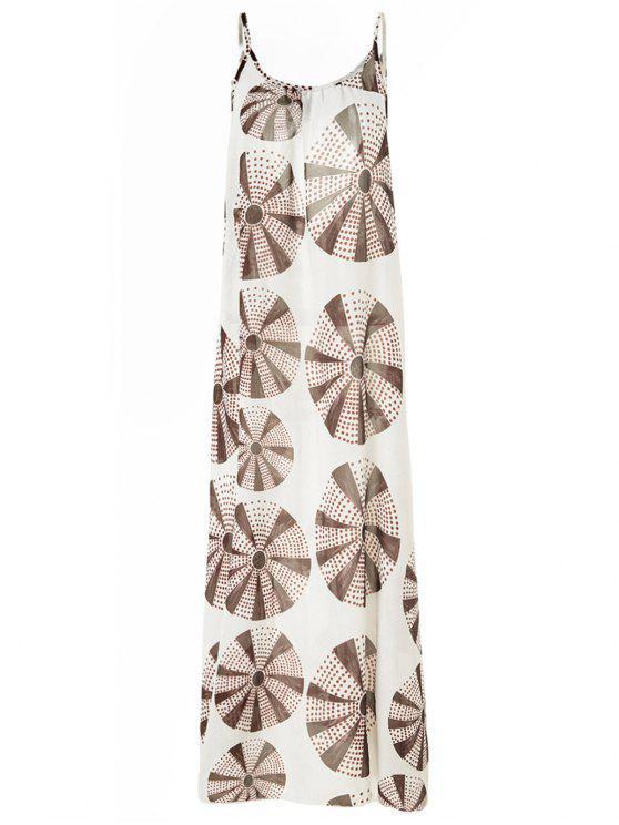 unique Circle Printing Cami Backless Maxi Dress - COLORMIX L