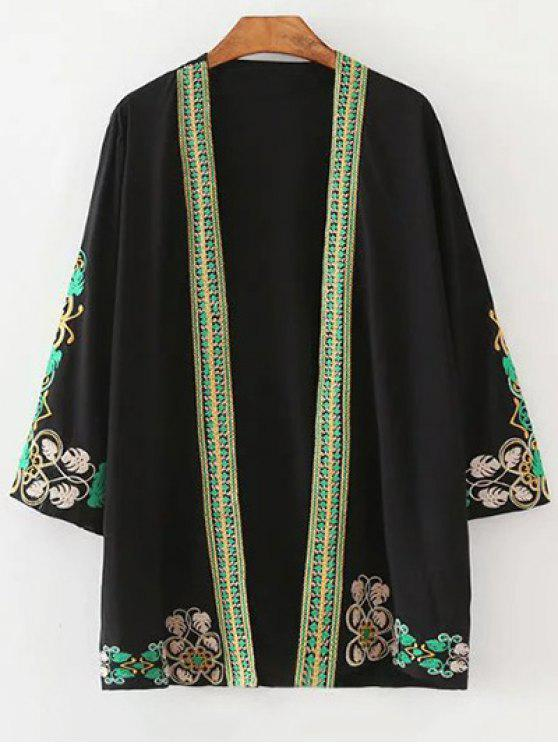 online Leaf Embroidery 3/4 Sleeve Kimono Blouse - BLACK S