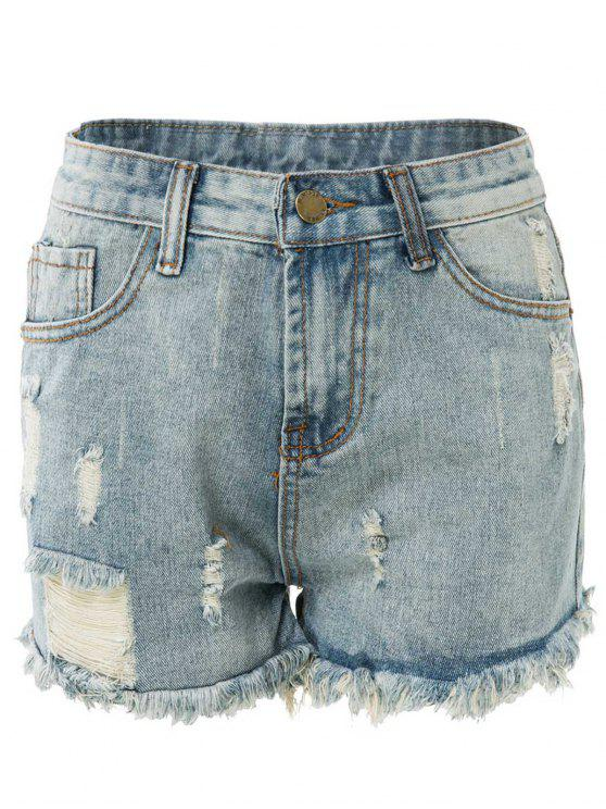 outfits High Waisted Ripped Denim Shorts - LIGHT BLUE S