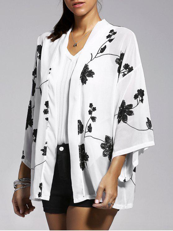 Floral bordado de la manga del Batwing de la blusa - Blanco M