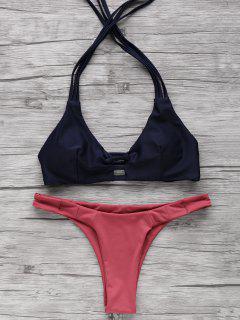 Color Block Halter Elastic Bikini Set - Purplish Blue L