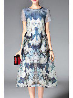Short Sleeve Floral Print Silk Dress - Ice Blue M