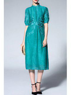 Mandarin Collar Half Sleeve Embroidery Dress - Lake Blue M