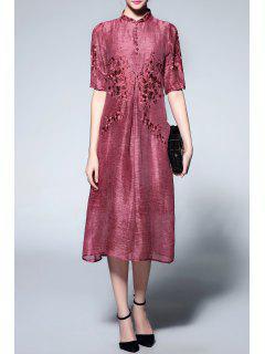 Mandarin Collar Half Sleeve Embroidery Dress - Wine Red M
