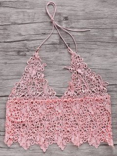 Short Solid Color Cami Lace Tank Top - Pink L