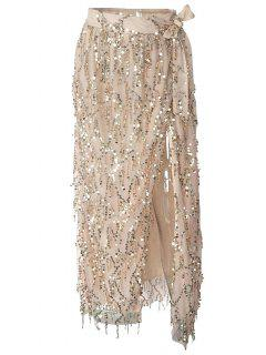 Sequins High Slit Tassels Skirt - Off-white S