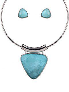 Acrylic Triangle Necklace And Earrings - Light Blue