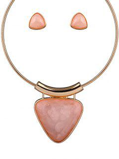 Acrylic Triangle Necklace And Earrings - Pink