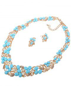 Beads Leaf Necklace And Earrings - Light Blue