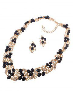 Beads Leaf Necklace And Earrings - Black