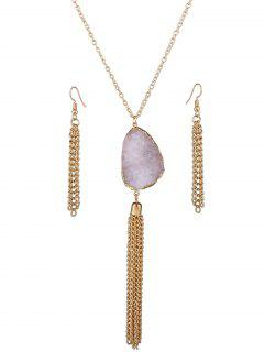 Faux Gem Tassel Necklace And Earrings - Pink