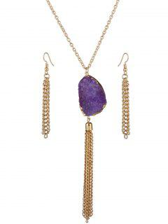 Faux Gem Tassel Necklace And Earrings - Purple