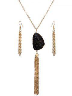 Faux Gem Tassel Necklace And Earrings - Black