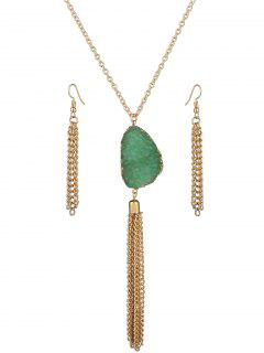 Faux Gem Tassel Necklace And Earrings - Green