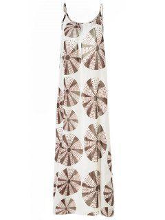 Circle Printing Cami Backless Maxi Dress - L