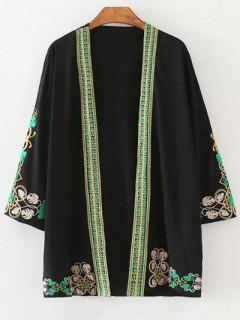 Leaf Embroidery 3/4 Sleeve Kimono Blouse - Black S