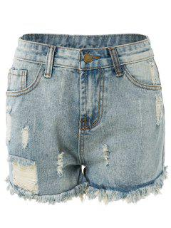 High Waisted Ripped Denim Shorts - Light Blue L