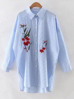 Floral Embroidery Long Sleeve Striped Shirt - Light Blue M