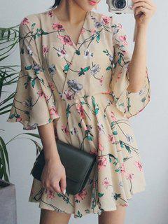 Floral Print Flutter Dress - Apricot S