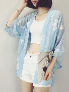 Wide Sleeve Chiffon Cover Up - Blue