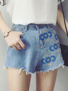 Embroidered Frayed Shorts - Light Blue S