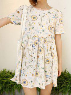 Printed Empire Waist Dress - Off-white